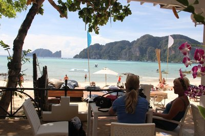 lobby of our hotel in phi phi