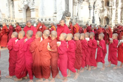 monks lining up