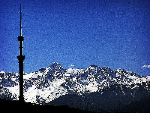 Tower and mountains