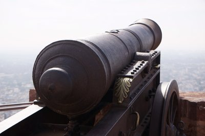 One of the canons at the fort in Jodhpur