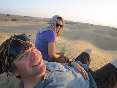 Watching the sunset in the sand dunes