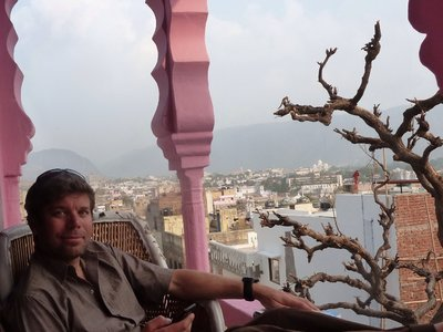 Enjoying the balcony off our room in Pushkar