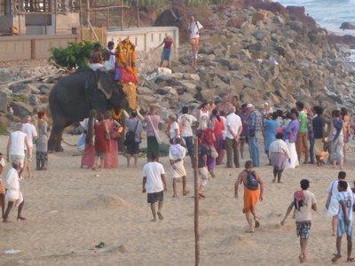 Ceremony on the beach with an Elephant