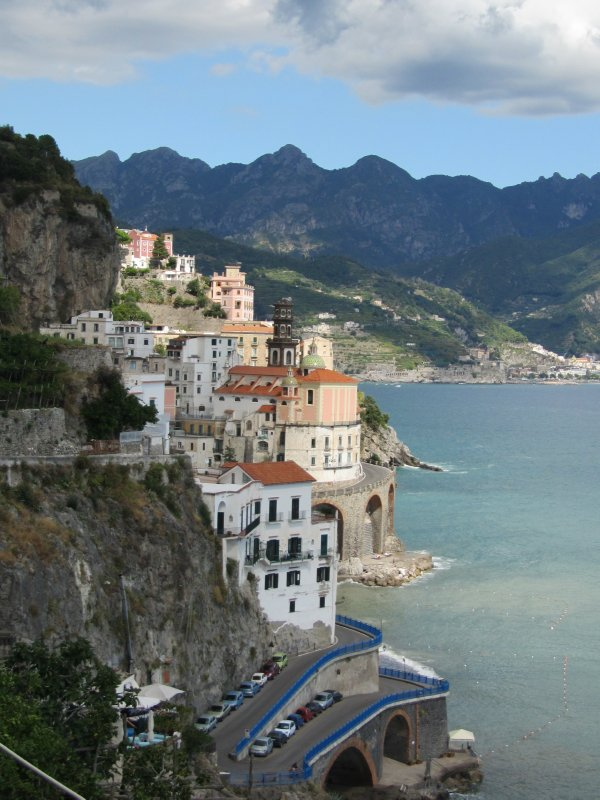 The town of Positano clinging to the Amalfi Coast.