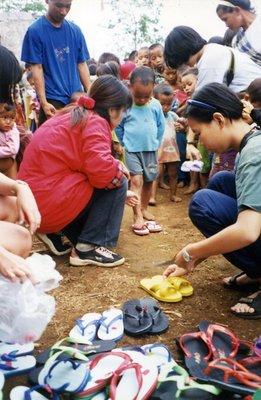 Helping hill tribe children near Chiang Mai Thailand