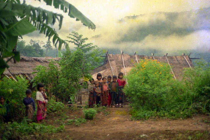 Lahu hill tribe children in the early morning in their village