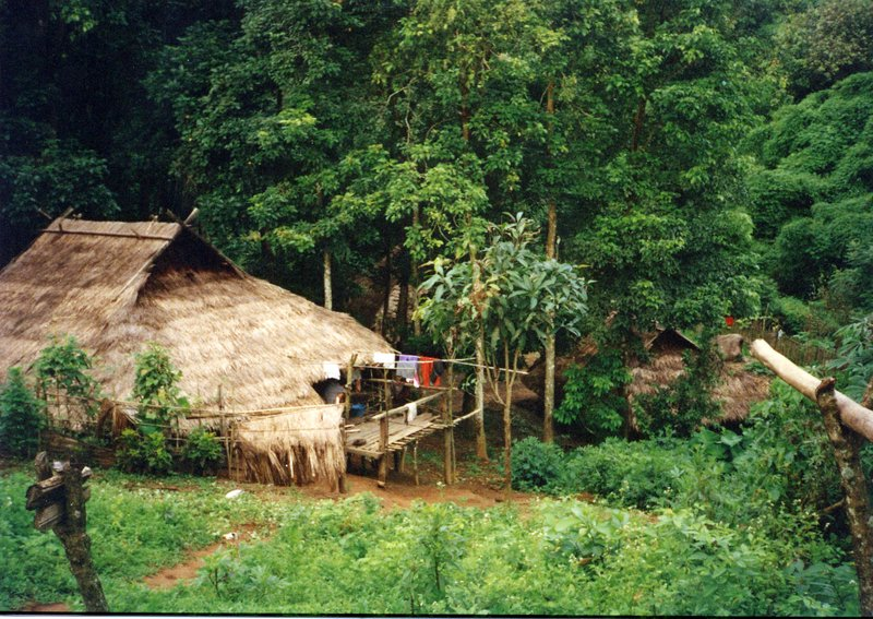Traditional Akha hill tribe home in North Thailand