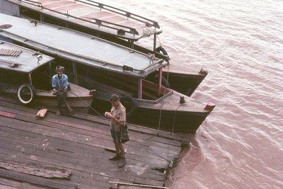 Waiting to cross the Mekong