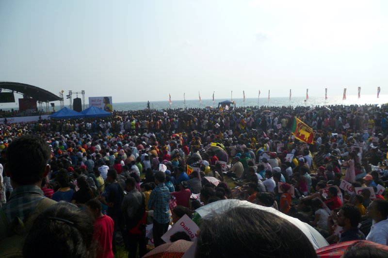 The crowd at the Galle Face Green