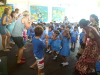 The Kirks dance for the preschool kids