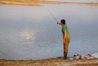 biswajit angling at Gandhi Sagar Lake