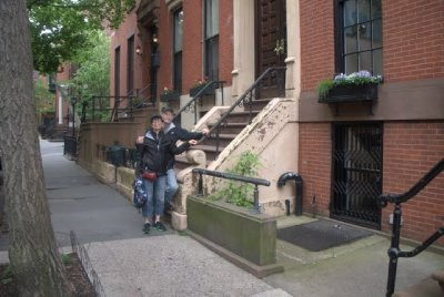 in front of arthur miller and marilyn monroe's home, brooklyn