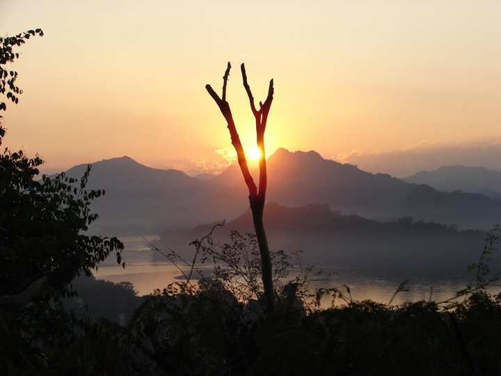 Sunset over the Mekong River.