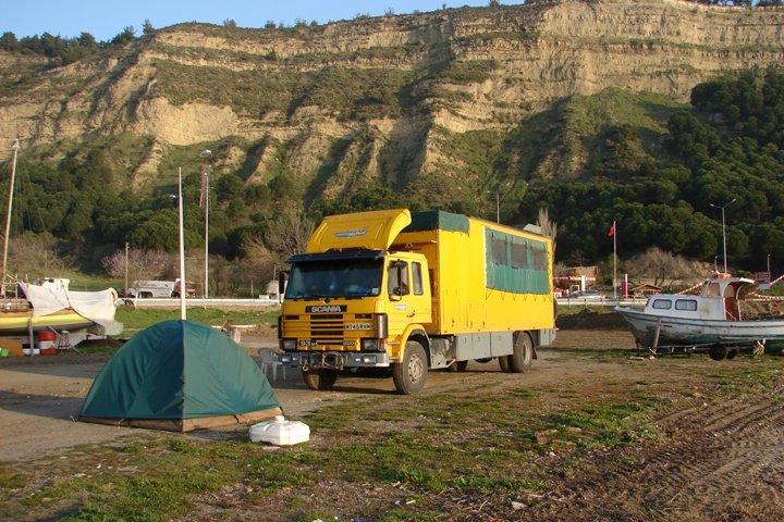 Fanny at Eceabat (and my tent)
