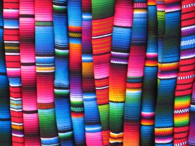 Bright fabrics at Chichicastenango