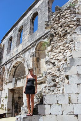 Ana outside the walled city of Split