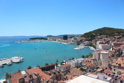 A view of the harbour from Split's bell tower