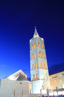 Zadar's bell tower in the evening light.