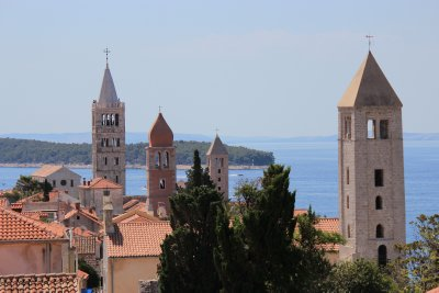 Four distinct bell towers of Rab