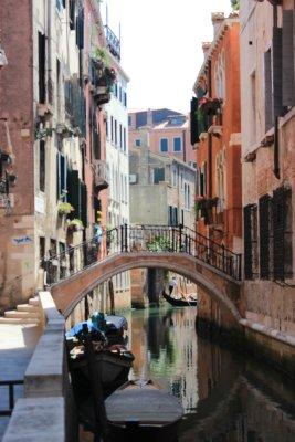 beautiful canal with gondolier