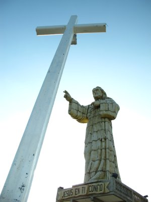 The large cross and Jesus statue that lookout over San Juan del Sur