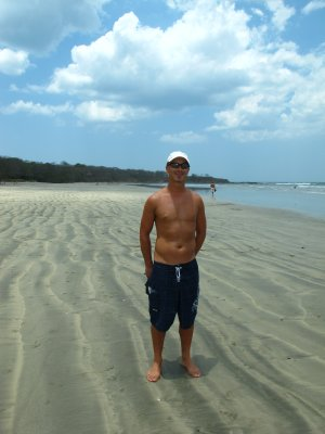 The white and black sands of Tamarindo -they don't mix, rather form striations in the sand