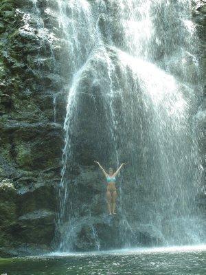 Ana under the waterfall