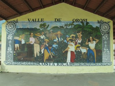 A mural in Orosi of the 5 colones bill that is no longer in circulation which depicts the first coffee export from Costa Rica -this bill is a collectable and I was honoured to have one gifted to me by Yamileth