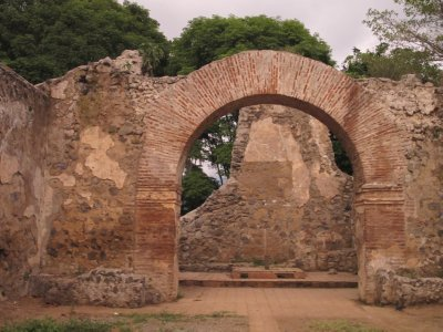 The archway of the first church in Costa Rica, still intact