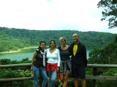 Hellen, Yamileth, Ana and Andrew at Laguna Botos