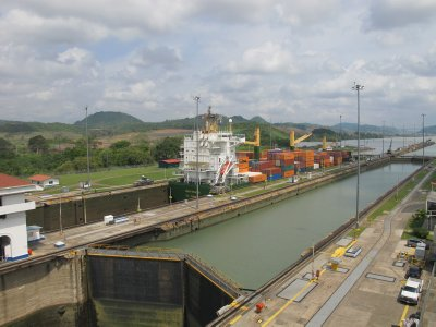 The second set of locks fills with water to raise the ship up to the level of the Miraflores Lake