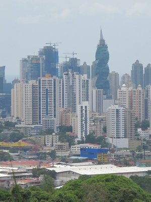 The financial district of Panama City seen from the mirador in the Metropolitan Park