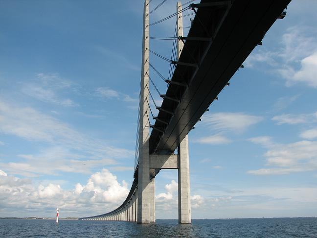 Sailing under Öresundsbron - the bridge between Sweden and Denmark