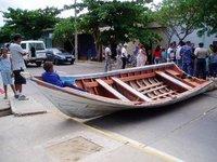 Boat on the road - Rio Caribe