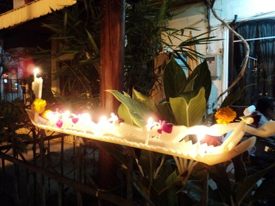 Offerings at a Vientiane home