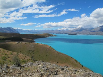 Lake Tepako- the azure blue colour is caused by glacier rock flour and this reflects the sky colour