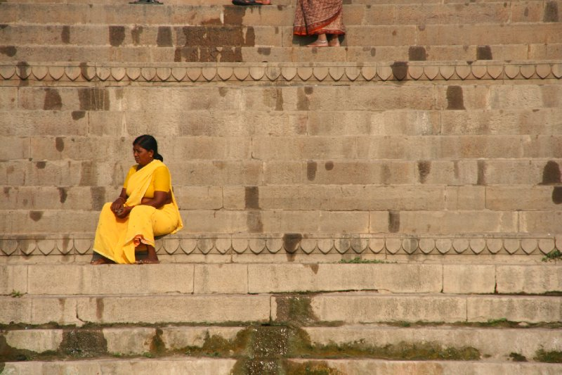Vibrant Woman by the Ganges