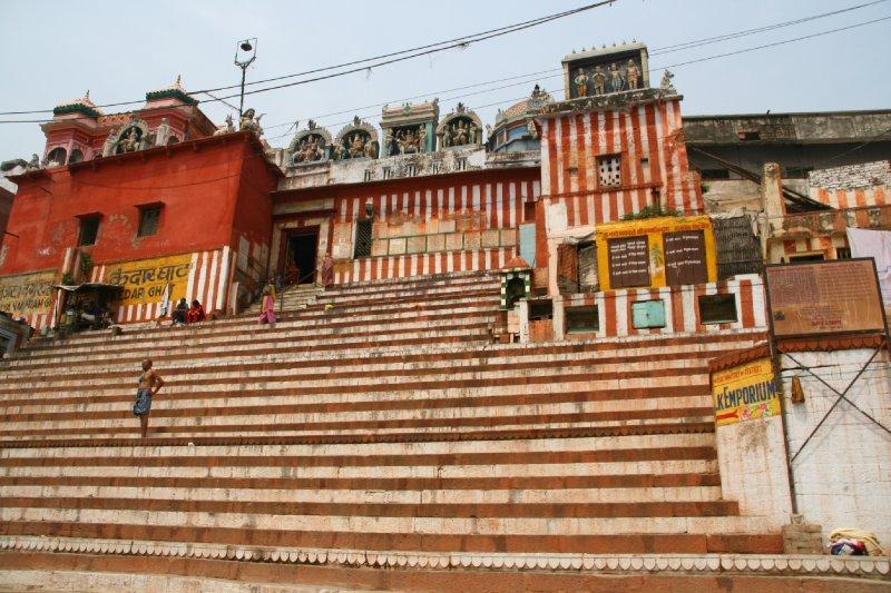 Striped stairs of Kedar Ghat