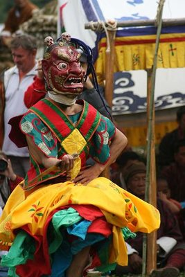 Masked dancer at Bumthang Festival