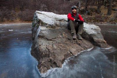 Travis on a frozen lagoon