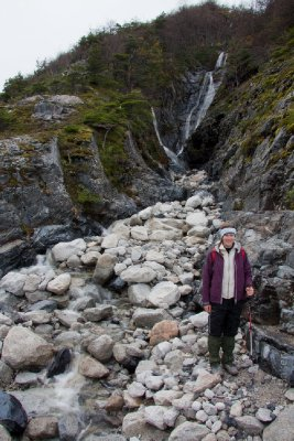 Ali and a Waterfall in Valle de Frances