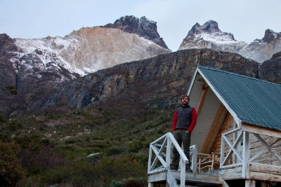 Travis outside our cabin