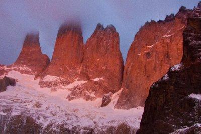 Torres del Paine Illuminated at Sunrise