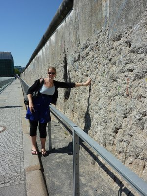 Kate on the West Berlin side of the wall - you wouldn't want to have been stuck on the East side the night it went up!