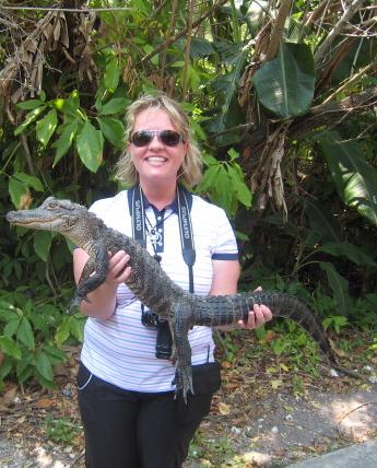 Jo holding 1 metre alligator
