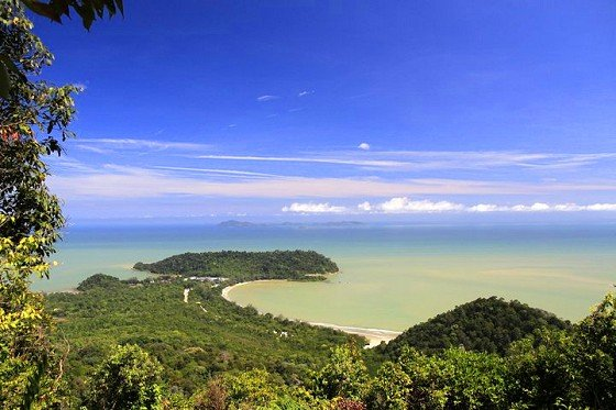 The view of Tanjung Resang as seen from the Gunung Arong summit