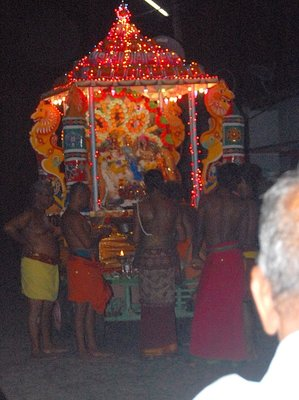 Chariot illuminated in bulb lights celebrating Janmashtami at Dyke, Trincomalee