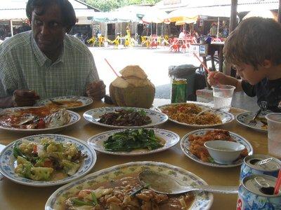 Delicious lunch with Johann at Pulau Ubin - so cheap lah