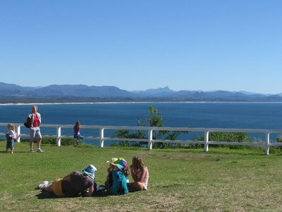 Enjoying the winter sunshine and whale watching at Cape Byron. Mount Warning is in the distance.