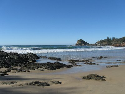 Flynn's Beach at Port Macquarie. Surfing lessons are popular here in summer.
